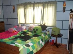 minecraft bedroom creeper brick walls renovation