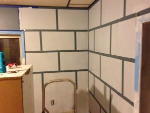 minecraft room taped painted bricks